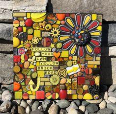 FOLLOW YOUR OWN YELLOW BRICK ROAD  handmade mixed media mosaic yellow brick road wizard of oz flower sunflower daisy inspiring art wall decor