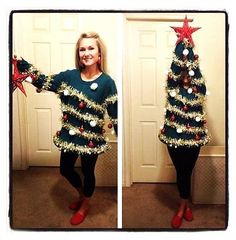 A definite winner at the Ugly Christmas Sweater contest!