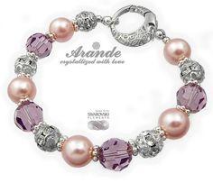 Piękna ozdobna bransoletka z perłami i kryształami Swarovskiego: Crystal Amethyst. Oryginalne