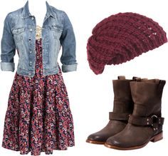 Turn a summer dress into a fall outfit (print dress, denim jacket, beanie-optional, low buckled/riding boots)