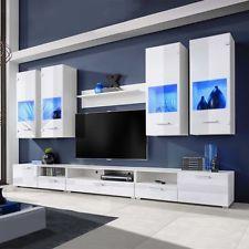 Amazing LED Hochglanz Wohnwand Anbauwand TV Board Mediawand Schrankwand Design