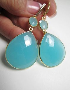 Gorgeous double drop extra large aqua Chalcedony earrings. Bezel set in 24k gold vermeil with 14k gold filled shield style leverback ear wires. Versatile statement earrings that are stylish and on trend.