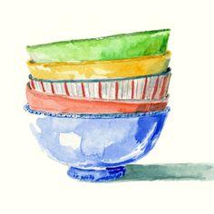 Art Print of Original Watercolor Painting -- Colorful Bowls