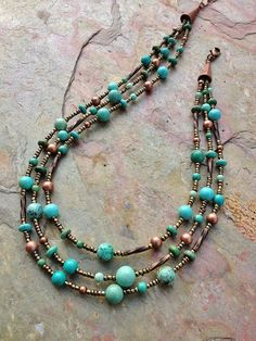 Turquoise Necklace / Turquoise Jewelry / Multi Strand Necklace $62 www.lovelnj.com