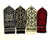 Norwegian mittens Hand knitted Wool mittens Scandinavian Gloves Warm winter mittens Winter gloves Patterned wool mittens (price for 1 pair)