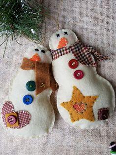 Felt Snowman Ornaments - Snowman - Set of  2 - Country Snowman - Rustic Christmas