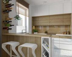 Wilanów - 100m2 - Mała otwarta kuchnia w kształcie litery g w aneksie, styl skandynawski - zdjęcie od TutajConcept