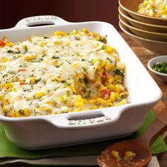 Basil Corn & Tomato Bake Recipe -I think this is the ultimate dish to make when sweet Jersey corn is in season. Combined with tomatoes, zucchini and basil, it makes for a spectacular side for brunch, (Vegan Cheesecake New York) Baked Tomato Recipes, Veggie Recipes, Cooking Recipes, Healthy Recipes, Corn Recipes, Recipies, Healthy Breakfasts, Healthy Meals, Delicious Recipes