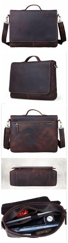 ROCKCOW 14'' Crazy Horse Leather Briefcase Messenger Bag Laptop Bag Men's Shoulder Bag