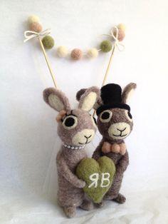 Bridal Bunnies with Pom Pom Cake Banner  Custom by AdoraWools, $115.00
