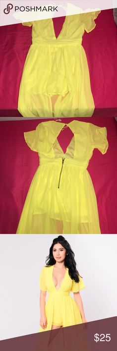 Yellow dress Yellow romper/dress. Worn once for an engagement. Fashion Nova Dresses Maxi