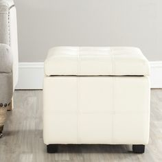 Safavieh Broadway Flat Cream Leather Tufted Storage Ottoman | Overstock.com Shopping - Great Deals on Safavieh Ottomans