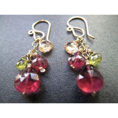 Citrine, Peridot, and Pink Tourmaline Earrings (obaz.com)