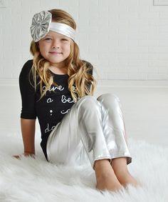 Look at this PeekABootSocks Metallic Silver Leggings & Headband - Toddler & Girls on #zulily today!