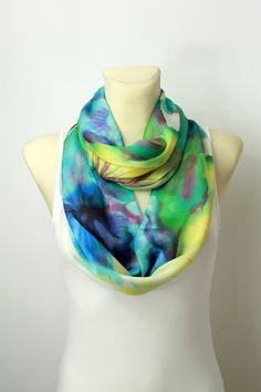 Satin Silk Infinity Scarf - Blue & Yellow Loop Scarf - Circle Fabric Scarf - Women Shawl - Unique Boho Scarf - Fashion Shawl