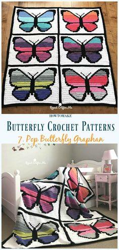 Pop Butterfly Graphan Free Crochet Pattern - Free #Butterfly; #Crochet; Patterns