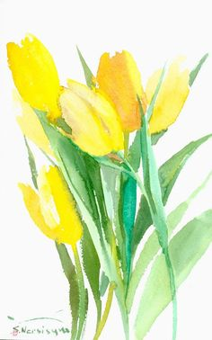 Yellow tulips, bright yellow green original watercolor painting, 13 x 8.5  in