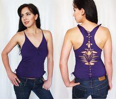 Sexy Romantic Open Back Top Shirt Purple Natural. $39.00, via Etsy.