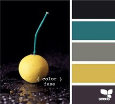 Black, teal, greys, yellow
