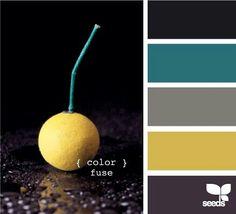 Black, teal, greys, yellow