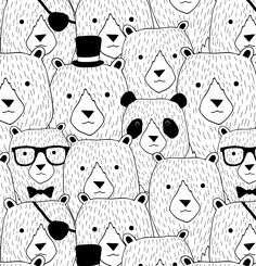 Find the Panda by Venla-Ilona Malkki and Merita Pesonen / Piirre Collective Print Patterns, Pattern Design, Snoopy, Prints, Panda, Fictional Characters, Inspiration, Art, Biblical Inspiration