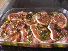 PrintThis recipe works great for lamb or chicken but my daughter just loves pork chops so this is one of her favorite dishes. I like to buy a large package of thick boneless pork chops at Costco. Barbecue Recipes, Pork Recipes, Salad Recipes, Chicken Recipes, Cooking Recipes, Marinade Porc, Pork Marinade, Steaks De Porc, I Love Food