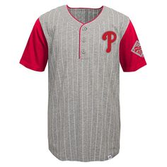 Philadelphia Phillies Majestic Youth Life or Death Henley T-Shirt - Gray - $24.99