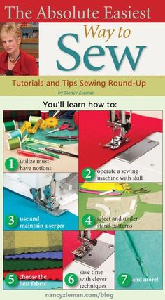 The Absolute Easiest Way to Sew by Nancy Zieman is the newest sewing book on quick sewing tips, sewing patterns, and how to use a sewing machine or serger. Sewing Hacks, Sewing Tutorials, Sewing Crafts, Sewing Tips, Sewing Ideas, Sewing Basics, Sewing Blogs, Basic Sewing, Sewing Lessons