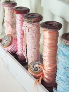 Wonderful spools of lace and satin ribbon.