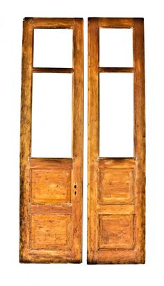 pair or set of original c. antique american yellow pine wood tall and narrow interior vestibule church doors with raised panels and spacious openings for glass panes Antique Doors, Vestibule, Raised Panel, Wood Interiors, Barn Doors, Gates, Ladder Decor, Terrace, Pine