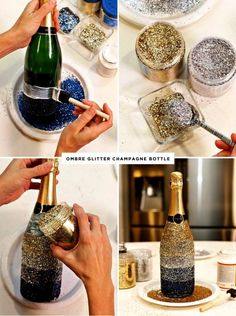 Midnight Toast New Year's Eve Table + Ombre Glittered Champagne Bottles. Make pink, lavender and teal for Alice WeddingMidnight Toast New Year& Eve Table + Ombre Glittered Champagne Bottle Give your New Year's Eve party a big dose of glam with th Glass Bottle Crafts, Wine Bottle Art, Bottle Bottle, Alcohol Bottle Crafts, Cutting Glass Bottles, Alcohol Gifts, Glitter Champagne Bottles, Bling Bottles, Glitter Mason Jars