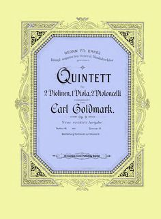 Goldmark, Carl : Quintet fur 2 Violinen, 1 Viola, 2 Violoncelli, op. 9