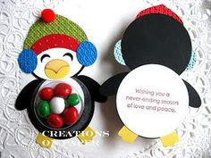 Creations on Paper: Penguin Punch Art Projects Más Christmas Favors, Christmas Paper Crafts, Noel Christmas, Christmas Projects, Holiday Crafts, Xmas, Paper Punch Art, Punch Art Cards, Little Presents