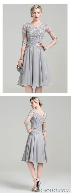 A-Line/Princess Scoop Neck Knee-Length Chiffon Mother of the Bride Dress With…