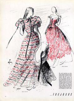 Maggy Rouff 1947 Evening Summer Dresses, René Gruau