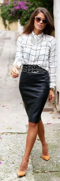 Black Leather Pencil Midi Skirt and window pane blouse