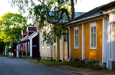 Old wooden district in Kokkola. Central Ostrobothnia province of Western Finland - Keski-Pohjanmaa Charming House, Scandinavian Countries, Outdoor Travel, Old Town, All Over The World, Denmark, Villa, Country, City