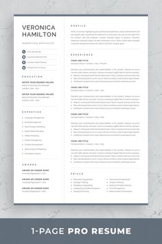 Resume template Veronica is the perfect choice for creating a professional job application. Includes resume, cover letter and references templates in matching designs for a consistent presentation…More One Page Resume Template, Modern Resume Template, Resume Template Free, Creative Resume Templates, Cover Letter For Resume, Cover Letter Template, Letter Templates, Cover Letters, Resume Tips