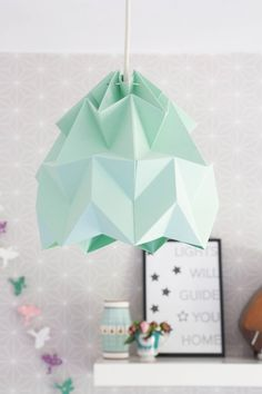 mint green Studio Snowpuppe origami lamp on decor8 blog http://paperempire.com.au/collections/all/lighting