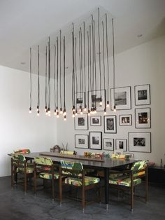 Dining Room with cool lighting.