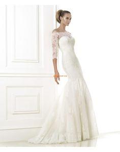 Moda de Encajes Elegante Imperio Vestido de Novia 2015