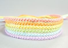 Pastel Rainbow Handmade Bracelet Set - Six Knotted Friendship Bracelets.