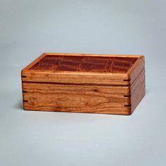 Wood Box, Keepsake box for Men, Valet Box, Treasure box, Memory box.  Cherry body with Mottled Makore lid.  The Keeper 0216-013-012 by MountainViewWood on Etsy https://www.etsy.com/listing/285487067/wood-box-keepsake-box-for-men-valet-box