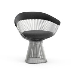 """Platner Arm Chair-WARREN PLATNER 1966  In 1966 the Platner Collection captured the """"decorative, gentle, graceful"""" shapes that were beginning to infiltrate the modern vocabulary. The pieces are created by welding hundreds of curved, nickel-plated steel rods to circular frames, simultaneously serving as structure and ornament."""