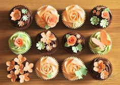 Peach and green cupcakes Peach Cupcakes, Fancy Cupcakes, Floral Cupcakes, Pretty Cupcakes, Wedding Cupcakes, Chocolate Cupcakes, Cupcakes Fall, Wedding Cake, Decorated Cupcakes