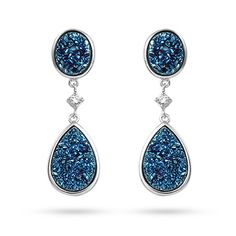 These sterling silver peardrop blue drusy CZ earrings will make heads turn every time you wear them.