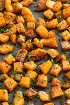 Roasted Butternut Squash with Garlic and Herbs - Cooking Classy - Fit Vegetable Recipes, Vegetarian Recipes, Cooking Recipes, Healthy Recipes, Dishes Recipes, Healthy Options, Delicious Recipes, Roasted Butternut Squash Cubes, Roasted Squash