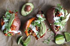 The are many reasons why sweet potatoes are rock star tubers. They are   versatile, vibrant in color, and pack a serious nutritional punch. Their   flexibility is highlighted in this dish, serving as an edible bowl for   spicy and flavorful beans. These stuffed spuds could be a great dish at a   cau