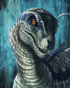 """More brilliant JW fan art, including this amazing portrait of Velociraptor Blue, in the style of the JP3 female Sornaensis Velociraptors. Created by…"""