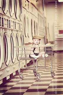 baby in the laundry mat
